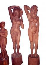 Hand-carved wooden Nude Art Figurines