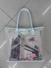 landon building printting beach bag handbags PVC Transparent bag