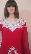 Red hand embroidery kaftan, abaya, jalabia