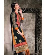 Designer bridal wear chudidar black embroidered straight cut salwar suit