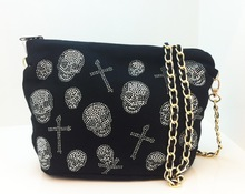 Cool Skull Black Red Grey Chain Shoulder Bag