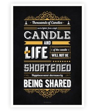 Thousand of candles can be lighted from a single candle Gautam Buddha Motivational Quotes Typography Poster