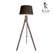 #35020 modern tripod wood base linen shade floor lamp Scandinavia
