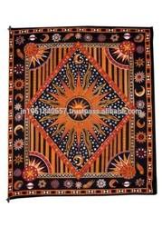 Celestial Sun Moon Stars Planet Tapestry, Indian Hippie Wall Hanging,Bohemian Bedspread, Mandala,Cotton,Dorm Decor Beach blanket