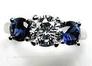 2.30ct G-SI1 Round Diamond & Sapphire Engagement Ring Platinum BLUERIVER47 GIA certified Anniversary Bridal