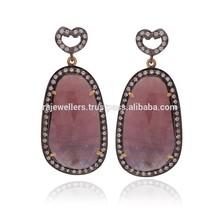 Antique Oxidised Sapphire Gemstone 925 Sterling Silver Earrings,Gold Plated Earrings