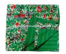 New Bird Print Kantha Quilt, Green Bird Kantha Bedspread, Indian Handmade Blanket Gudri Ralli