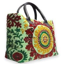 RTHHB-26 Fashionable And Trendy Uzbek Suzani Semi Leather handled shopping bag For Women