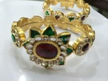 22k Gold Kundan Rhodolite Semi Precious Emerald Gold Bangles