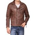 nuevo hombre genuino real chaqueta de cuero de napa de cordero de cuero