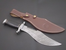 Personalizado handmade damasco faca de caça. Com bainha de couro. Qualidade superior