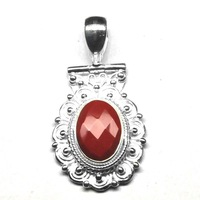 RED STONE SILVER PENDANT,Most popular items unique beautiful alloy antique silver plated