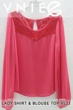 Stock Fashion Lady Casual Plain Silk Pleated Long Sleeve Blouse Women Shirt