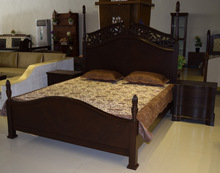 Elegantly Hand Carved Wooden Bed with Side Tables & Dressing
