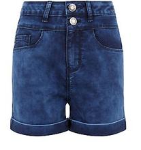 Teens Dark Blue Denim Acid Wash High Waisted Shorts