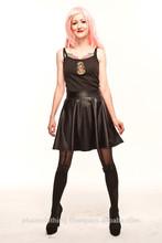 Ladies Sexy PVC Leather Look Flared Mini Skirt