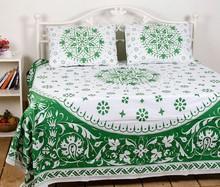 jaipuri green flower printed bedsheet