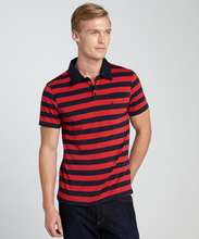 85% cotton 15% polyester men's stylish polo shirt striped red and dark blue