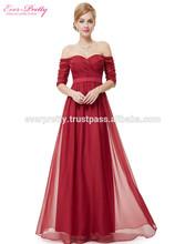 Strapless Half Sleeve Long Prom Dress HE08411RD