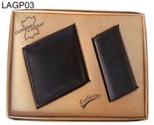 Black leather wallets and Purse two pieces gift packs available customization