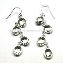 925 Sterling Silver Fashion India Jewelry Green Amethyst Gemstone Earring