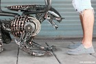Femal Alien metal sculpture - Made to order - metal table - unique art furniture