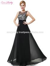 Women's Padding Elegant Black Long Party Evening Wedding Prom Dress HE08428BK