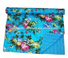 Sky blue flower print bedsheet indin handmade cotton bedsheet handmade quilt blanket