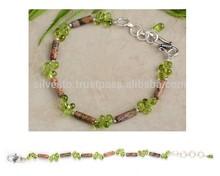 Gemstone Picture Jasper/Peridot Drops Beaded Fashion Sterling Silver Bracelet