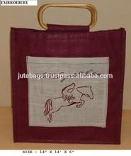 Jute surdy bags with embodaried