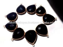 Black Onyx Heart Shape Bezel Gold Plated a925 Sterling Silver Pendant