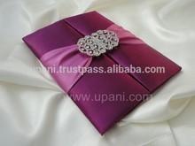 Purple Silk Wedding Invitation with embellishment
