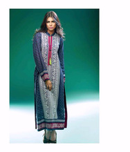 Pakistani Blue Kurti in exclusive prints with Thread Embroidery.