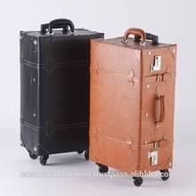 Japan wholesale luggage antique design vintage trunking case PVC leather travelling bag sretro suitcase on wheels