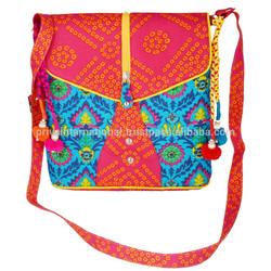 Indian Printed patch handmade owl design resort club gypsy shoulder ladies bags
