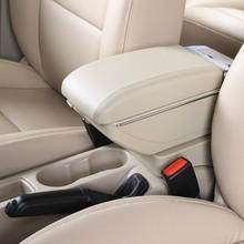 Genuine leather car arm rest Box console box (grey/beige colour) case for Hyundai Accent