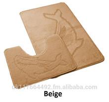 2 Piece Bath Mat & Padestal Mat Set - Non Slip (Beige Colour)