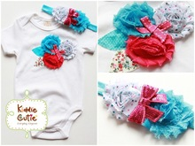 """Triple Flowers Bodysuit with Matching Headband """"Mystic Waters"""""""