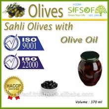 High Quality Table Olives. Black Olives,Sahli Olives with Olive Oil, Natural Sahli Olives. 370 ml Glass Jar