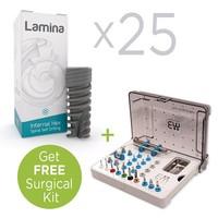 25 x LAMINA Dental Implants, Spiral Body Internal Hex & Get Free Surgical Kit