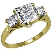 Oro giallo 18k 0,60 carati 3 pietra vera principessa certificato di fidanzamento anello di diamanti