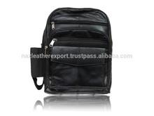 unisex back pack real leather , shoulder bag with bottle pocket , leather patchwork bag