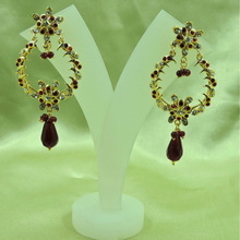 Gold Plated Indian Bali Style Light Weight Maroon Earrings
