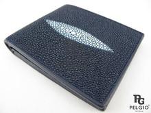 PELGIO Genuine Stingray Skin Men's Wallet Blue