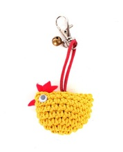 Yellow Crochet Chicken Lobster Clip Key Chain Zipper Pull Accessory