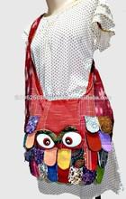 Thai Hmong Handmade OWL Patchwork Shoulder Cross body bag Thailand