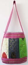 2015 New ArrivalLatest New Fashion women genuine leather handbag shoulder bag with vintage cotton Bag
