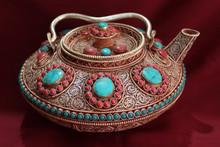 Tea Pot with semi precious stones Handmade in Nepal