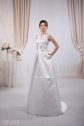Lux Satin wedding dress High-neck A-line Sleeveless Curt tail Plus Size