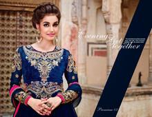 Elegantly designed Heavy Anarkali style Salwar Suits in Navy Blue Color